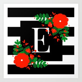E - Monogram Black and White with Red Flowers Art Print