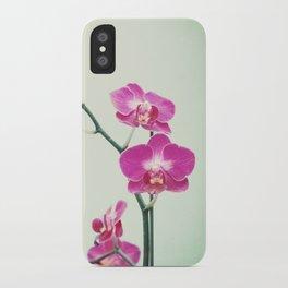 Orchid Flower Photography, Pink Mint Floral Art, Orchids Floral Photo, Botanical Nature Art iPhone Case