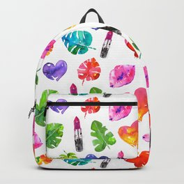 Cute colorful watercolor with lipsticks lips palm leaves Backpack