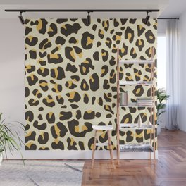 Trendy brown black abstract jaguar animal print Wall Mural