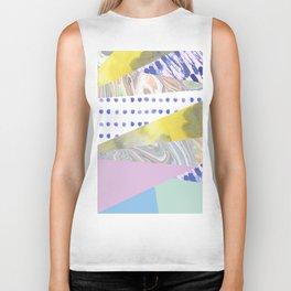 Modern geometrical pink navy blue yellow watercolor marble Biker Tank