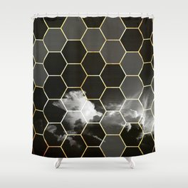honeycomb clouds // black & white & golden Shower Curtain