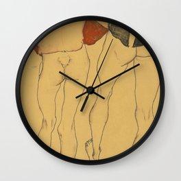 "Egon Schiele ""Two standing semi-nude females"" Wall Clock"
