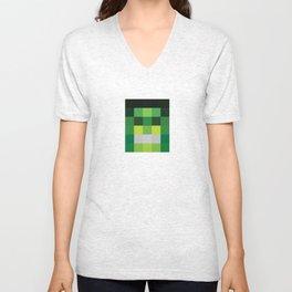 hero pixel green black Unisex V-Neck