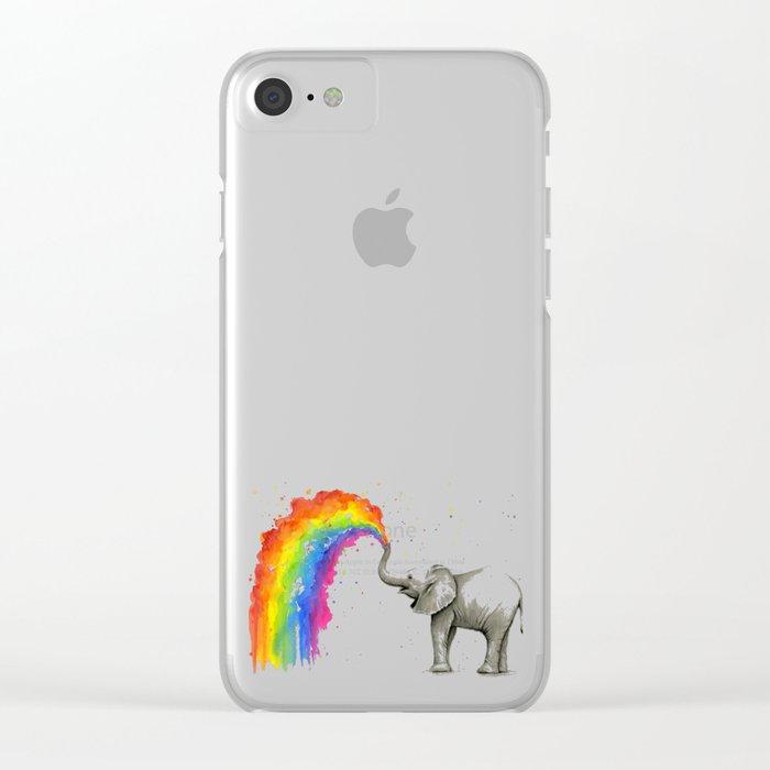 Baby Elephant Spraying Rainbow Clear iPhone Case