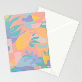 Lemons in Amalfi / Abstract shapes, Pink, Turquoise, Yellow, Lavender Stationery Cards