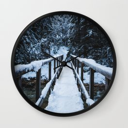 Crossing the river in winter Wall Clock