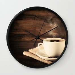 Happiness in a Cup (Porcelain coffee cup over wooden background) Wall Clock