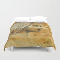 woman Duvet Covers featuring Woman by Catru