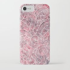Burgundy red and white swirls doodles iPhone 7 Slim Case