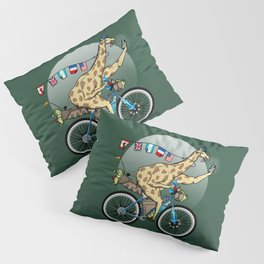 Giraffe riding a mountainbike Pillow Sham