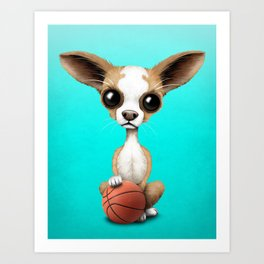 Chihuahua Puppy Dog Playing With Basketball Art Print