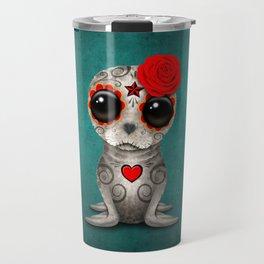 Red Day of the Dead Sugar Skull Seal Baby Travel Mug