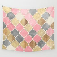 bedding Wall Tapestries featuring Silver Grey, Soft Pink, Wood & Gold Moroccan Pattern by micklyn