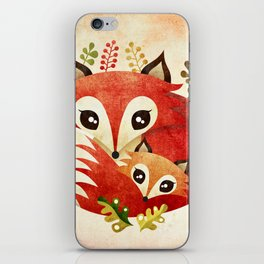 Fox Mom & Pup iPhone Skin