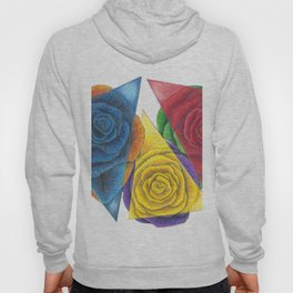 Complimentary Color Rose Trio With Geometric Triangles Hoody