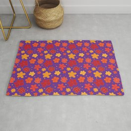Sunday Best: cute little flowers in red, orange, yellow and purple Rug