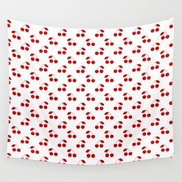 Red Cherries On White Pattern Wall Tapestry
