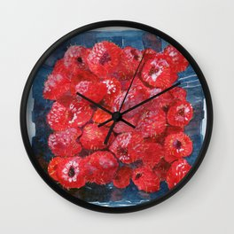 Watercolor Raspberries by Artume Wall Clock