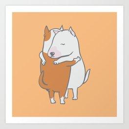 Bull Terrier Hugs Art Print