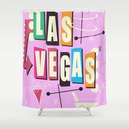 Vintage Las Vegas Vacation print pink version Shower Curtain