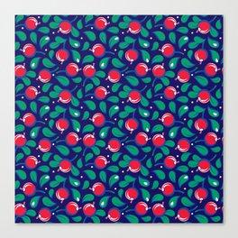 Cranberries pattern (on dark blue background) Canvas Print