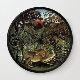THE HUNGRY LION ATTACKING AN ANTELOPE - ROUSSEAU Wall Clock
