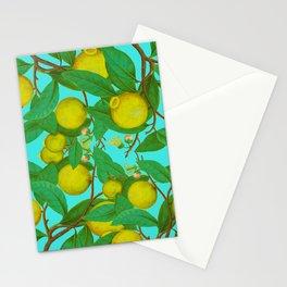 Citron lemon aqua yellow summer fruit french vintage Stationery Cards