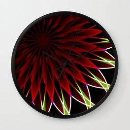 Neon flower mandala Wall Clock