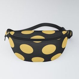 Mid Century Modern Polka Dots 549 Black and Yellow Fanny Pack