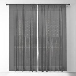 Grey Grunge American flag Sheer Curtain