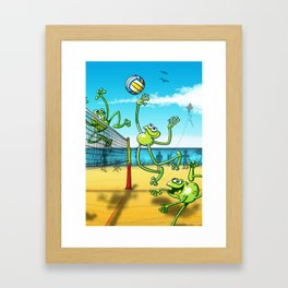 Olympic Volleyball Frog Framed Art Print