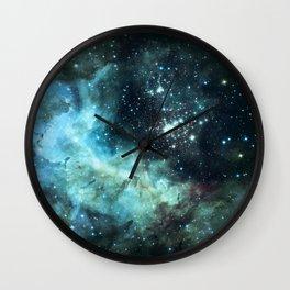 Teal Green Galaxy : Celestial Fireworks Wall Clock