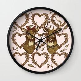 Deerly in Love Wall Clock