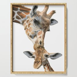 Mother And Baby Giraffe Serving Tray