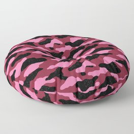 Red and pink camo with black speckles Floor Pillow