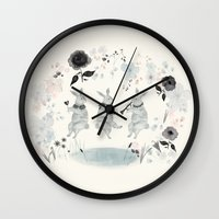 band Wall Clocks featuring Woodland Band by Danse de Lune