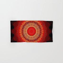 Vibrant Red Gold and black Mandala Hand & Bath Towel