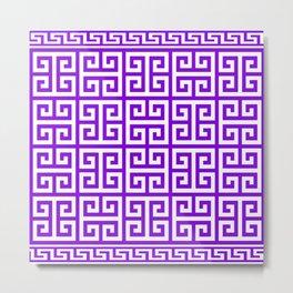Greek Key (Violet & White Pattern) Metal Print