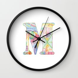Letter M - Watercolor Monogram - Colorful Lettering - Watercolor Letter Print - Watercolor Initial Wall Clock