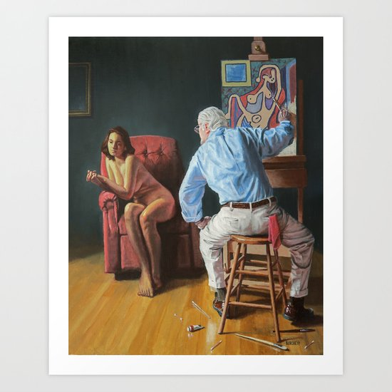 Rockwell Meets Picasso - Nude in a Red Armchair Art Print