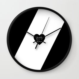 Dad Heart Mustache - Minimal Black and White - Father's Day Gifts Wall Clock