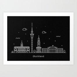 Auckland Minimal Nightscape / Skyline Drawing Art Print