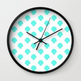 Seashells (Turquoise & White Pattern) Wall Clock