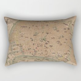 Vintage Antwerp Belgium Monuments and Landmarks Map (1885) Rectangular Pillow
