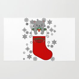 Cute Merry Christmas Cat Kitty Stocking Stuffer Rug
