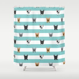 French Bulldog stripes Shower Curtain