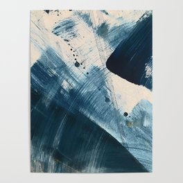 Against the Current [2]: A bold, minimal abstract acrylic piece in blue, white and gold Poster