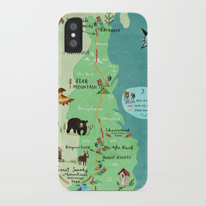Appalachian Trail Hiking Map iPhone Case by chengel | Society6 on