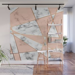Marble texture design with golden geometric lines Wall Mural